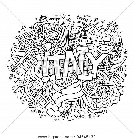 Italy hand lettering and doodles elements background