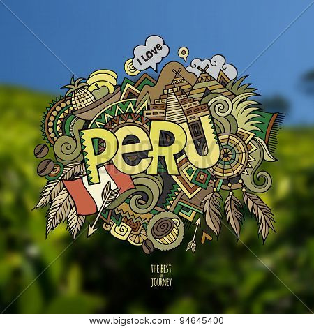 Peru hand lettering and doodles elements background.