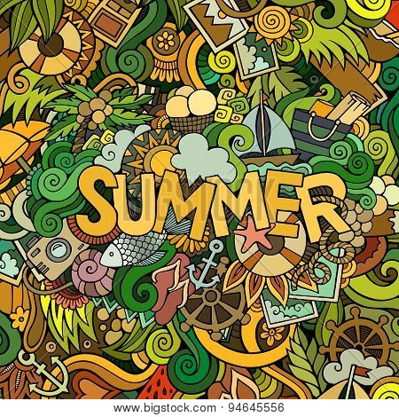 Doodles abstract decorative summer background