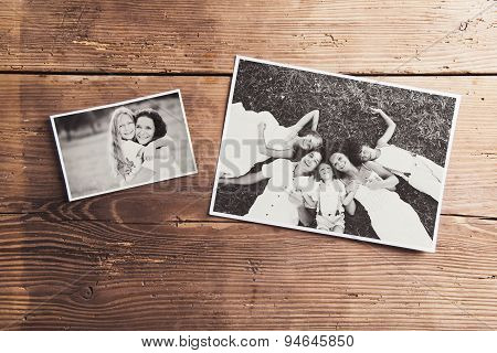 Photos on a table