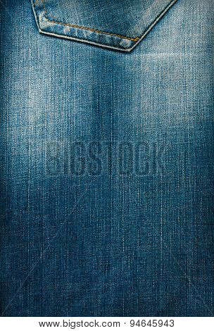 Texture Of Blue Denim With Pocket