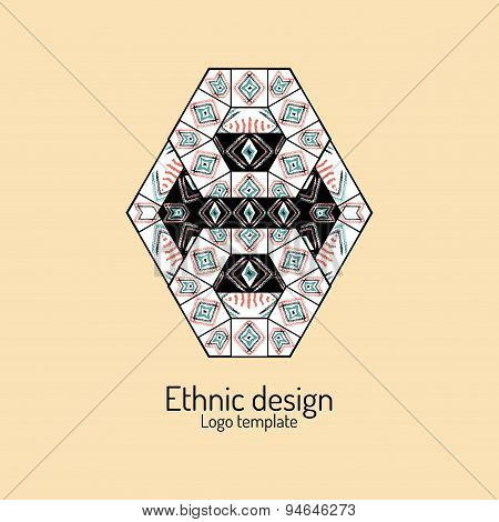 Abstract Pattern In Ethnic Style. Logo Template