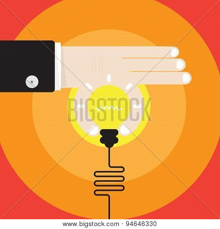 Young Businessman Hand With Creative Light Bulb Sign And Business Idea Concept,business Design Eleme