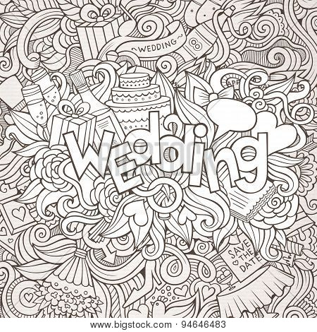 Wedding hand lettering and doodles elements sketch