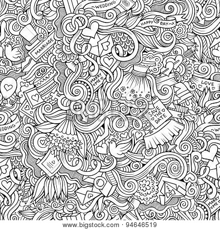 Cartoon doodles wedding seamless pattern