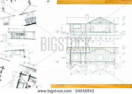 House Sketch With Blueprint
