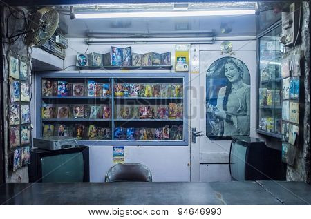 JODHPUR, INDIA - 10 FEBRUARY 2015: Empty video library with Bollywood movies.