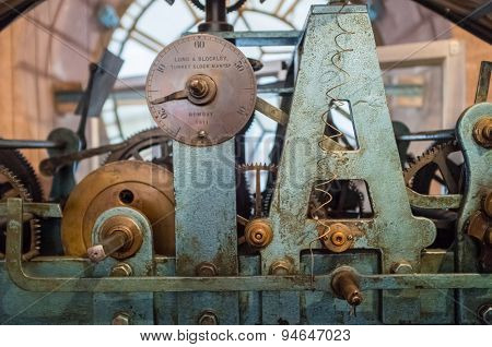 JODHPUR, INDIA - 11 FEBRUARY 2015: Ghanta Ghar clock mechanism.