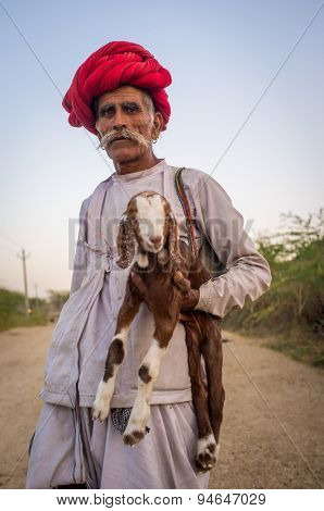 GODWAR REGION, INDIA - 13 FEBRUARY 2015: Elderly Rabari tribesman stands and holds goatling. Rabari or Rewari are an Indian community in the state of Gujarat.