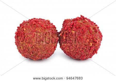 Red candy isolated on white background