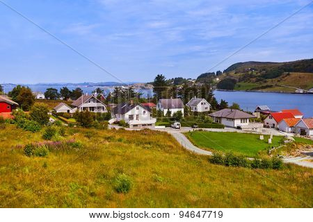 Village in Fjord - Norway - nature and travel background