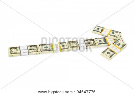 Arrow made of money isolated on white background