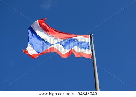 Thai flag  on top flagstaff and sky background