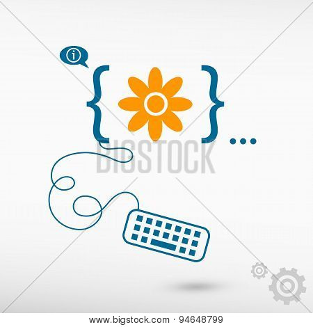 Pictograph Of Flower And Flat Design Elements