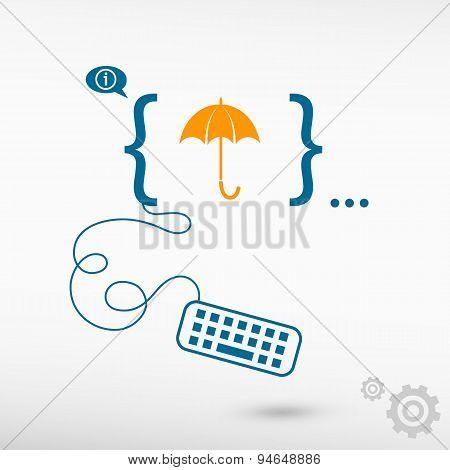 Umbrella And Flat Design Elements