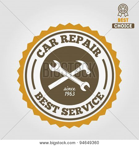 Vintage mechanic labels, emblems and logo. Vector illustration