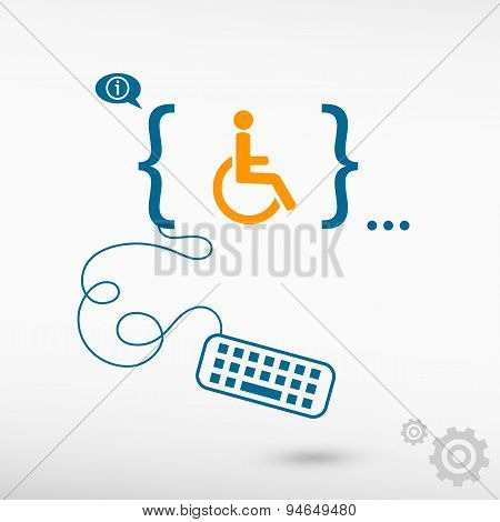 Disabled Handicap Icon And Flat Design Elements