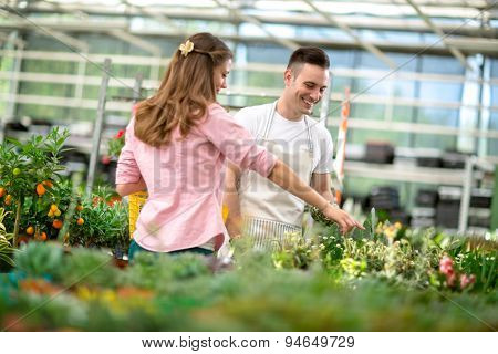 young woman buying flowers in glass garden