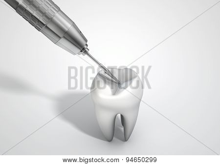 Dentists Drill And Tooth