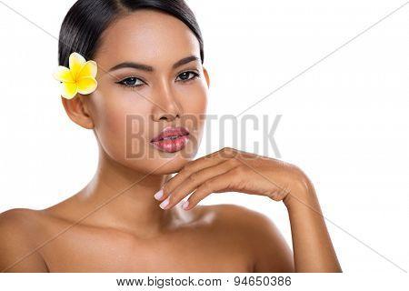 Asian beauty face closeup portrait with clean skin,  fresh elegant lady