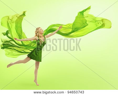 Woman Green Dress, Blowing Cloth On Wind, Young Girl Silk Fabric Fly on Green
