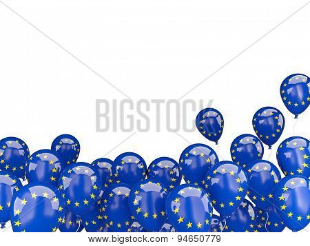 Flying Balloons With Flag Of European Union