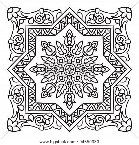 Hand Drawing Zentangle Mandala Element. Italian Majolica Style
