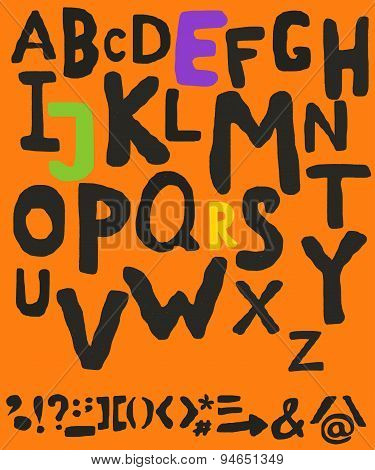 Alphabet and punctuation symbols