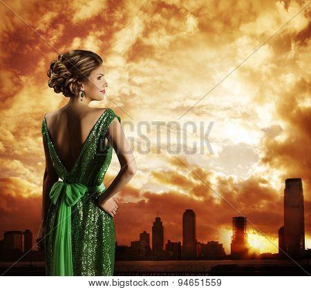 Woman In Dress, On City Sky Sundown, Fashion Model Rear View