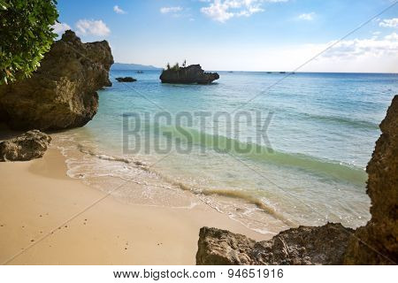 Tropical beach, beautiful bay with transparent azure sea