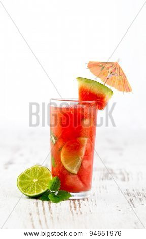 Watermelon mojito with watermelon garnish, fresh juice