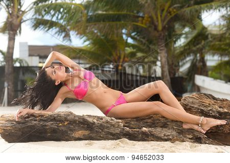 Sexy young woman in bikini enjoying in sun with palm trees in background