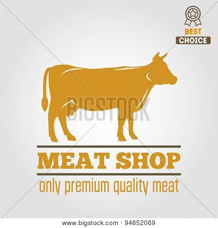Vintage labels, logo, emblem templates of butchery meat shop