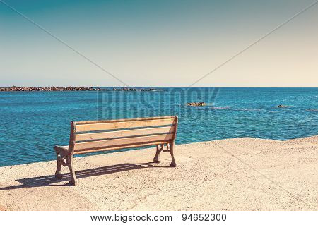 Bench On The Sea Coast