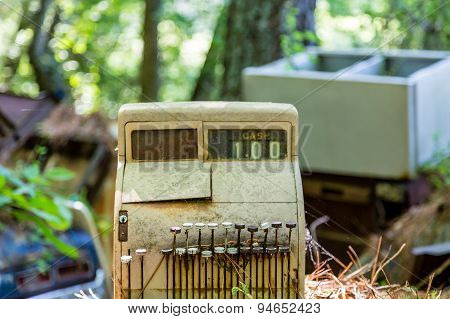 Old Cash Register In Junkyard