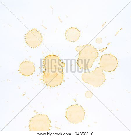 Coffee Stains And Coffee Cup Stains On White Background.