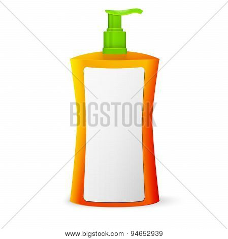 Plastic Clean Colored Bottle With Dispenser Pump. Shower Gel, Liquid Soap, Lotion, Cream, Shampoo, B
