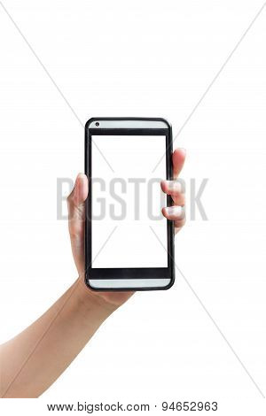 Hand Woman Show Smartphone In Vertical On Isolated White With Clipping Path.