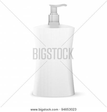 Plastic Clean White Bottle With Dispenser Pump. Shower Gel, Liquid Soap, Lotion, Cream, Shampoo, Bat