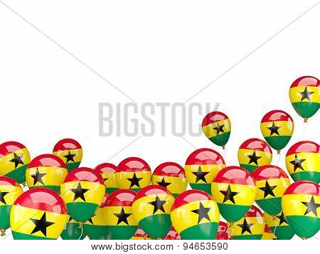 Flying Balloons With Flag Of Ghana