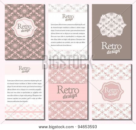 Set of brochures in retro style. Vector brochure, booklet cover