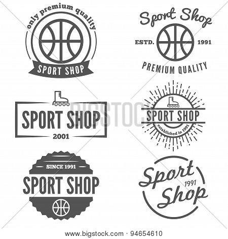 Set of vintage logo, badge, emblem or logotype elements for sport shop