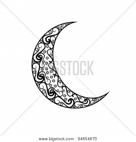 black and white vintage moon isolated on white background.