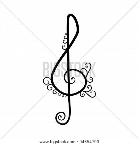 black and white vintage Treble clef on white background