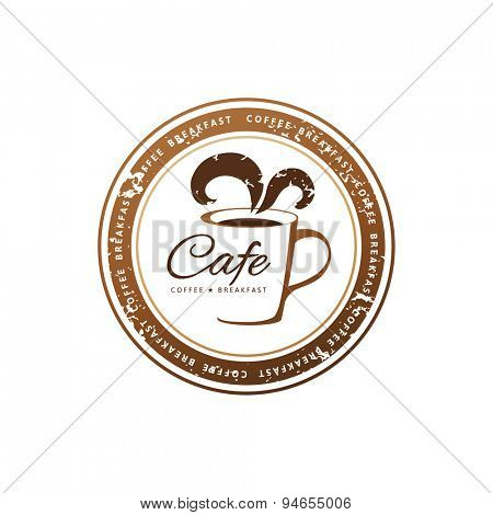 decorative coffee stamps over white background
