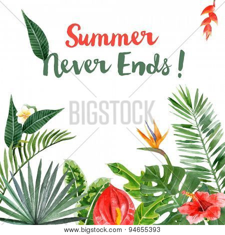 Background with hand drawn watercolor tropical plants