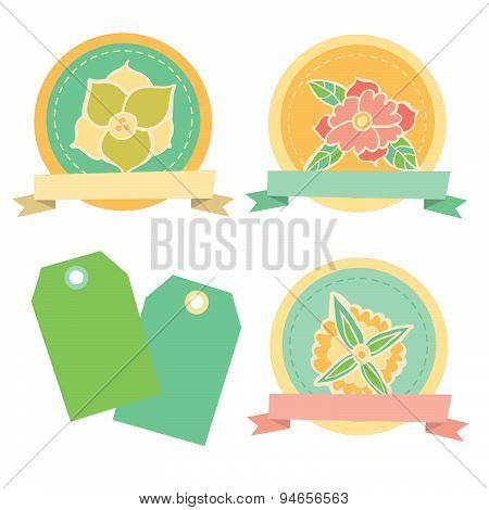 Scrapbook Floral Design Elements. Cute vector badges or stickers.