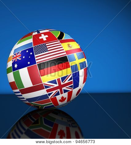 International Business Globe World Flags Concept