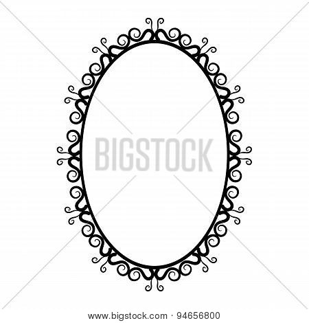 black and white vintage oval frame on a white background