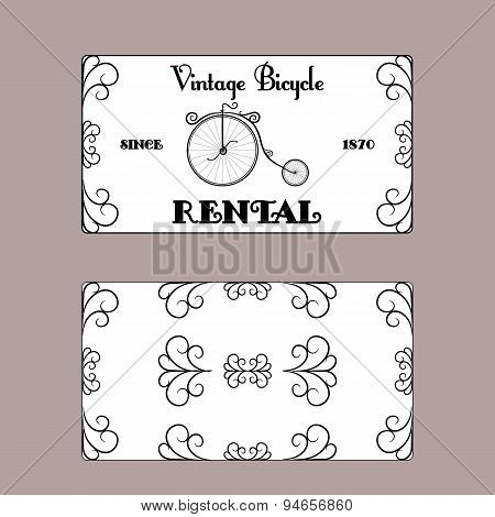sided business card in vintage style retro bicycle rental